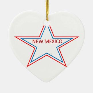 Estrella con New México en él Adorno Navideño De Cerámica En Forma De Corazón