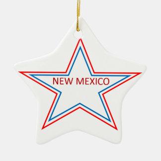 Estrella con New México en él Adorno Navideño De Cerámica En Forma De Estrella
