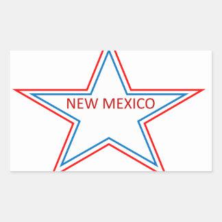 Estrella con New México en él Pegatina Rectangular