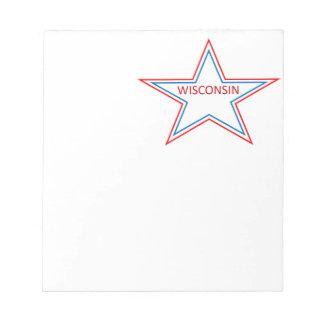Estrella con Wisconsin en él Blocs De Notas