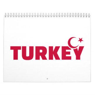Estrella creciente de la bandera de Turquía Calendario De Pared