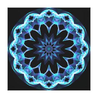Estrella cristalina, mandala azul que brilla impresión en lienzo
