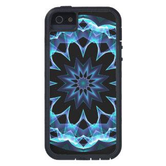 Estrella cristalina, mandala azul que brilla inten iPhone 5 protector