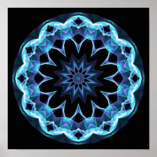 Estrella cristalina, mandala azul que brilla póster