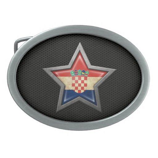 Estrella croata de la bandera con el efecto de ace hebilla cinturón oval