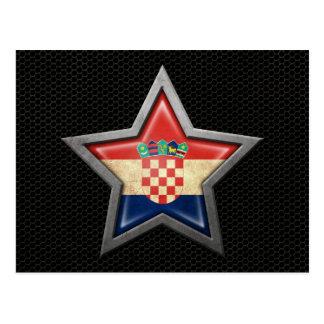 Estrella croata de la bandera con el efecto de ace tarjeta postal