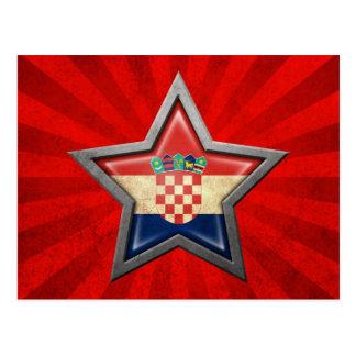 Estrella croata de la bandera con los rayos de la  postales