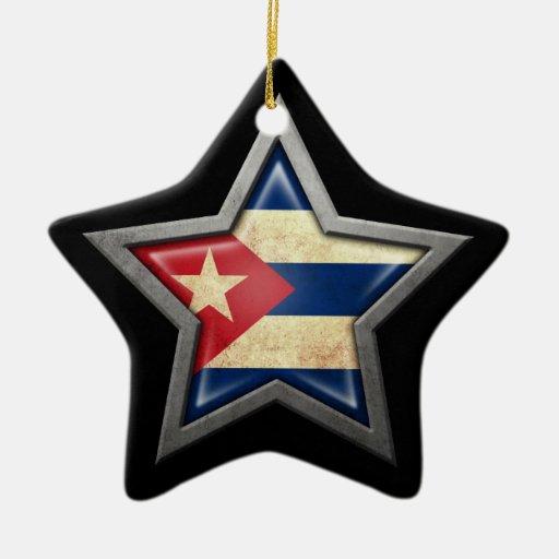 Estrella cubana de la bandera en negro adorno de cerámica en forma de estrella