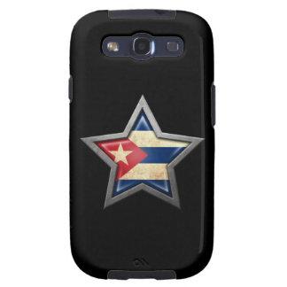 Estrella cubana de la bandera en negro galaxy SIII fundas