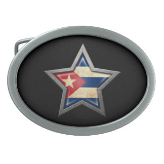 Estrella cubana de la bandera en negro hebillas de cinturón