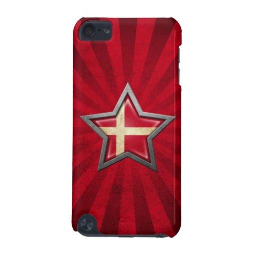 Estrella danesa de la bandera con los rayos de la
