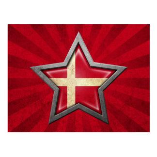 Estrella danesa de la bandera con los rayos de la  postal