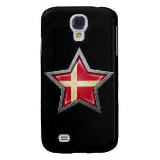 Estrella danesa de la bandera en negro funda para galaxy s4