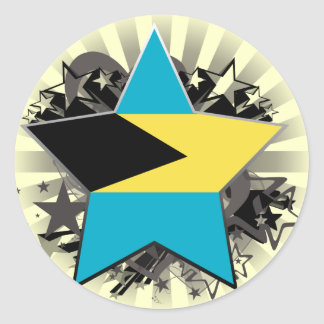 Estrella de Bahamas Pegatina Redonda
