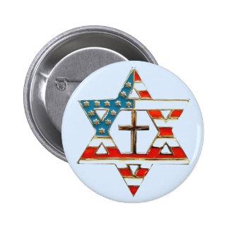 Estrella de bandera americana de David con la cruz Pin Redondo De 2 Pulgadas