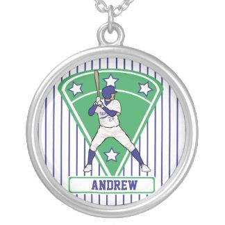 Estrella de béisbol azul personalizada joyeria personalizada