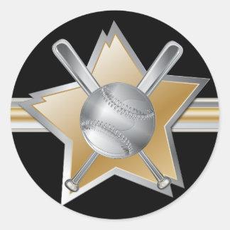 Estrella de béisbol del efecto del oro y de la pegatina redonda