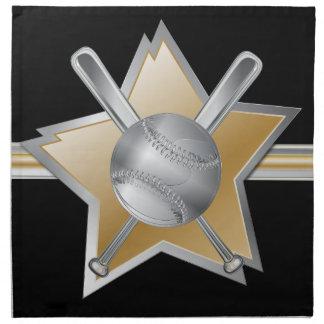 Estrella de béisbol del efecto del oro y de la pla servilleta de papel