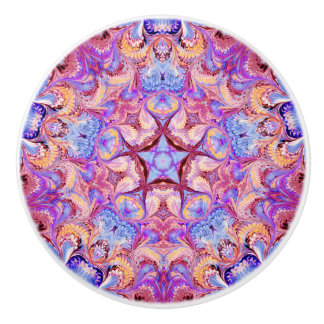 Estrella de cerámica del caleidoscopio del botón pomo de cerámica