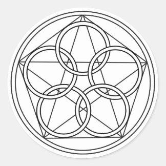 Estrella de cinco círculos pegatina redonda
