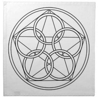 Estrella de cinco círculos servilletas imprimidas