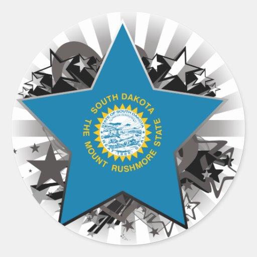 Estrella de Dakota del Sur Pegatina Redonda