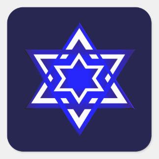 Estrella de David 3d Pegatina Cuadrada