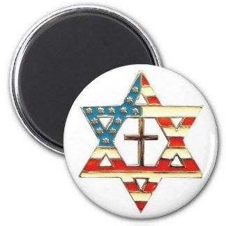 Estrella de David americana con la cruz Imán Redondo 5 Cm