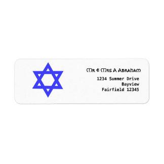 Estrella de David azul judía Etiquetas De Remite