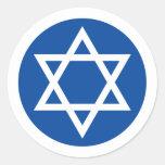 Estrella de David blanca en los pegatinas/los Etiquetas Redondas