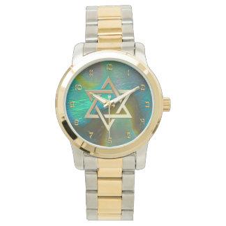 Estrella de David con el fondo del olmo Relojes De Pulsera