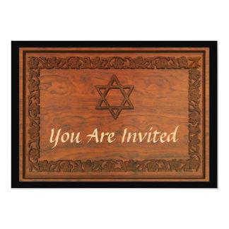 Estrella de David de madera tallada Invitación 12,7 X 17,8 Cm