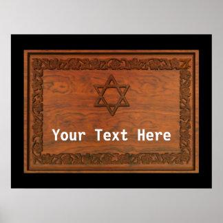 Estrella de David de madera tallada Poster