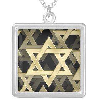 Estrella de David de oro Collar Plateado