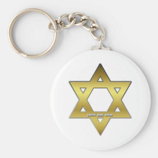 Estrella de David de oro Llavero