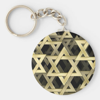 Estrella de David de oro Llavero Redondo Tipo Pin