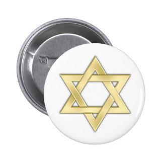Estrella de David de oro Pin Redondo De 2 Pulgadas