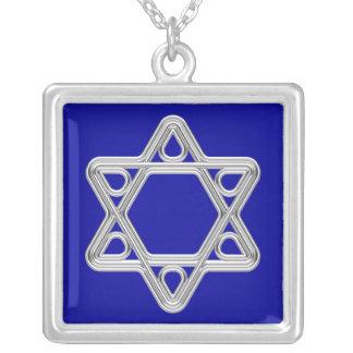 Estrella de David de plata Colgante Cuadrado