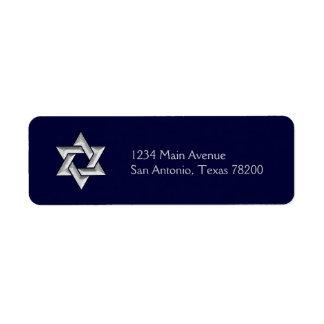 Estrella de David de plata en cualquier fondo del Etiqueta De Remitente