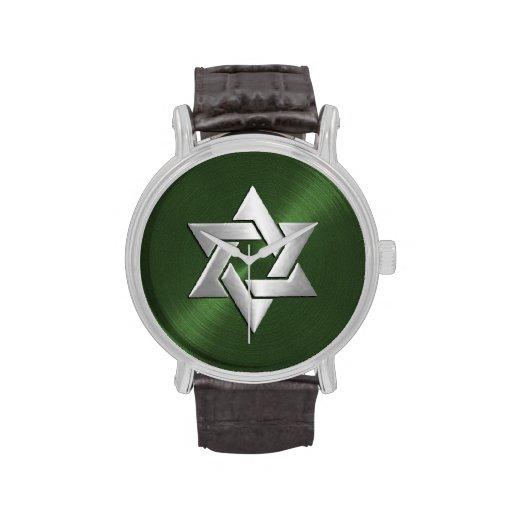 Estrella de David de plata en verde Relojes