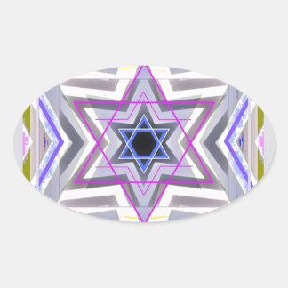 Estrella de David decorativa Pegatina Ovalada