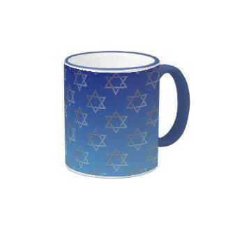 Estrella de David en fondo azul Taza De Café