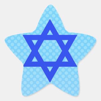 Estrella de David en puntos de polca azules Pegatina En Forma De Estrella