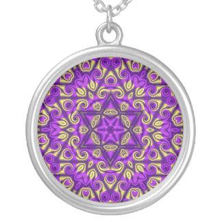 Estrella de David en púrpura y oro Colgante Redondo
