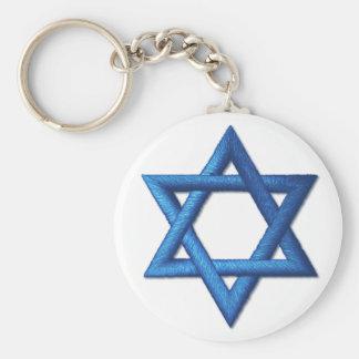 Estrella de David judía Llavero Redondo Tipo Pin