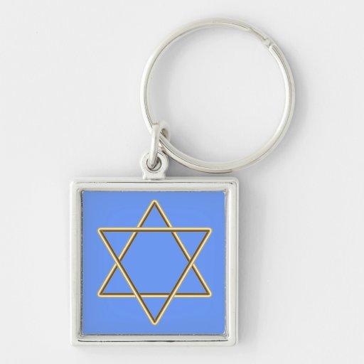 Estrella de David para la barra Mitzvah o el palo  Llavero Cuadrado Plateado