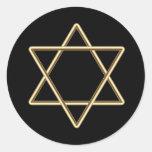 Estrella de David para la barra Mitzvah o el palo Etiqueta Redonda