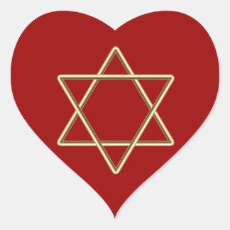Estrella de David para la barra Mitzvah o el palo Pegatina En Forma De Corazón