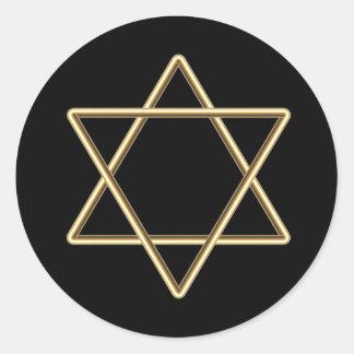 Estrella de David para la barra Mitzvah o el palo Pegatina Redonda