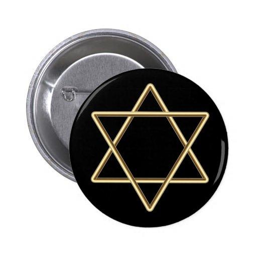Estrella de David para la barra Mitzvah o el palo  Pin Redondo 5 Cm